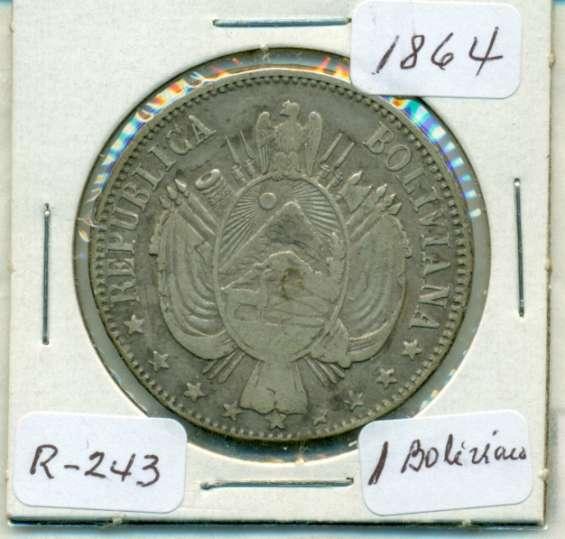 Moneda de plata de bolivia de 1864