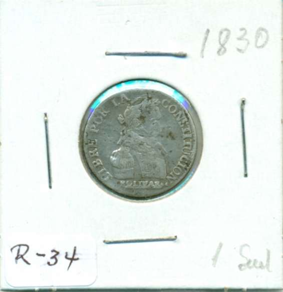 Moneda de plata republicana de bolivia 1830