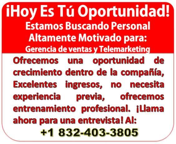 Requisitos: buena presencia, carro indispensable y buen manejo del idioma español. excelente ambiente de trabajo y buenos ingresos. interesados llamar al número: +1 832 403 3805.
