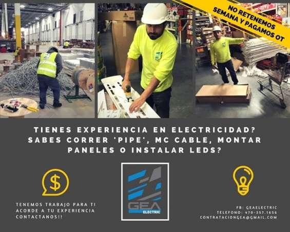 Buscamos electricistas con experiencia en electricidad comercial