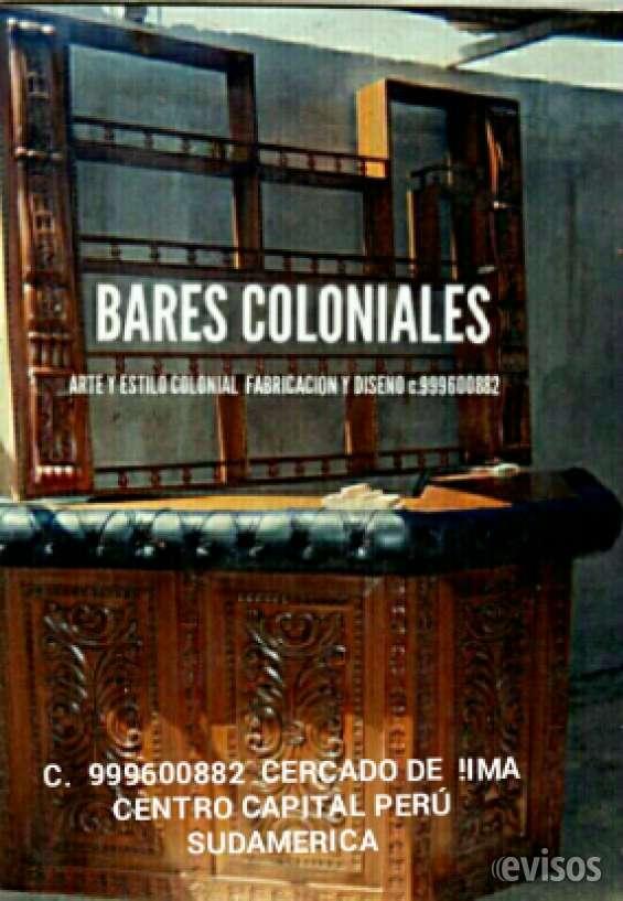 Muebles bares tallados colonial lima perú