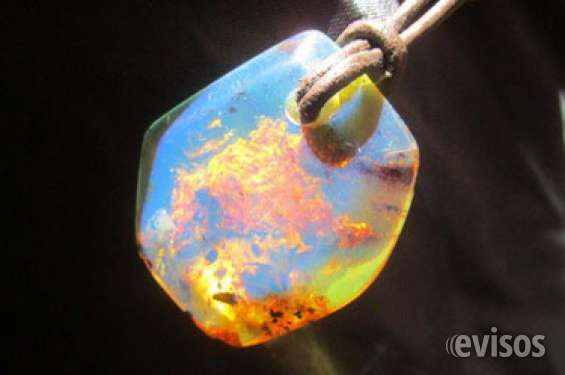 Blue amber pendant with leather necklace