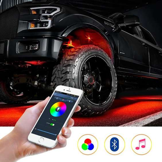4 & 8 pods rgb led rock lights cell phone app bluetooth control flush multicolor neon led