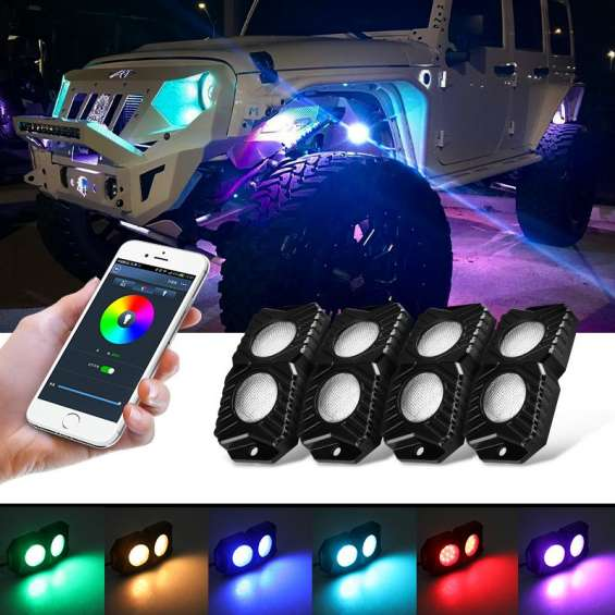 Cell phone app bluetooth control rgb double-row led rock lights multicolor underglow neon